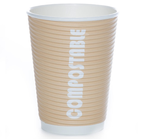 12oz Renewables™ Ripple Grip® Ripple Wall Compostable Cup (Tan)