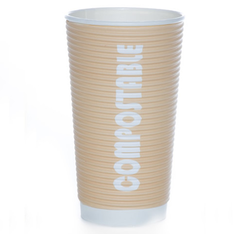 20oz Renewables™ Ripple Grip® Ripple Wall Compostable Cup (Tan)