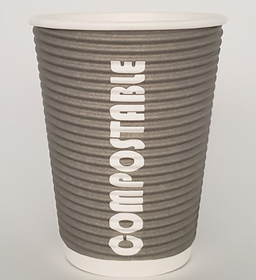 12oz Renewables™ Ripple Grip® Ripple Wall Compostable Cup (Grey)