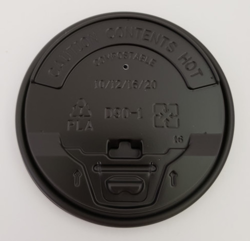 90mm cPLA Flip Top Lid, Fit 10oz/12oz/16oz/20oz Coffee Cups (Black)