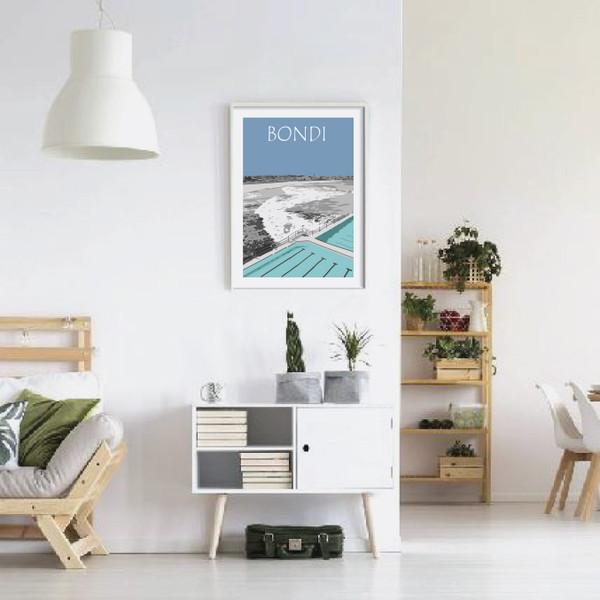 Bondi Beach, Bondi Icebergs, Travel poster, Travel print, Sydney art