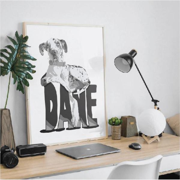 Great Dane print, dog art, Dane dog, funny dog art, gift for great dane owner