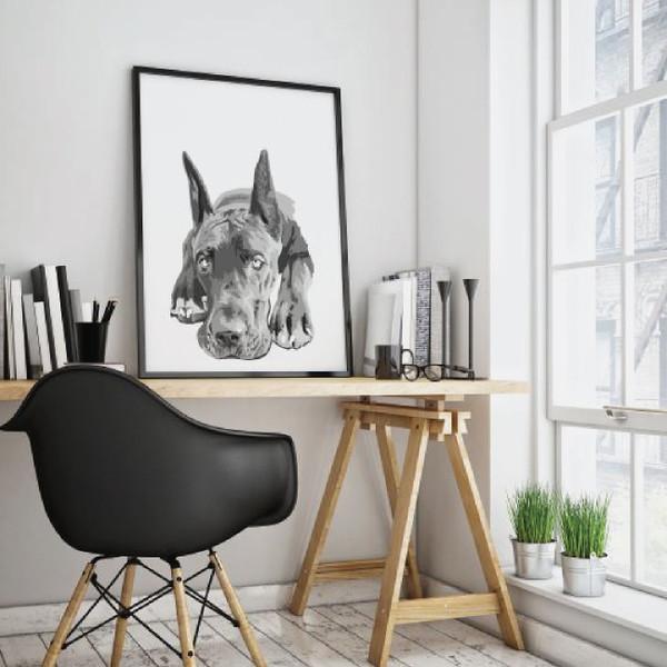 Great Dane art, Dog portrait, Dog art, black and white animal, dog poster
