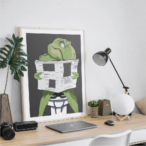 Dinosaur on the toilet, T-rex print, Dinosaur art, Dinosaur print, Funny bathroom art, Toilet humour art