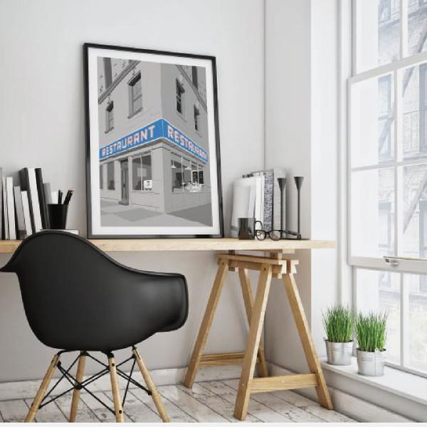 Seinfeld restaurant print, Seinfeld poster, Tom's Restaurant, Monk's Cafe print, Gift for Seinfeld fan