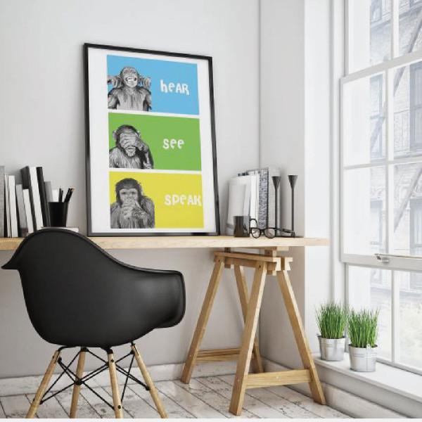 Three Wise Monkeys, See no evil, hear no evil, Nursery room art, Wise Monkey Art, Kids room decor