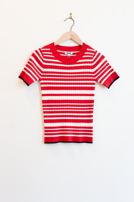 525 America red ribbed stripe tee