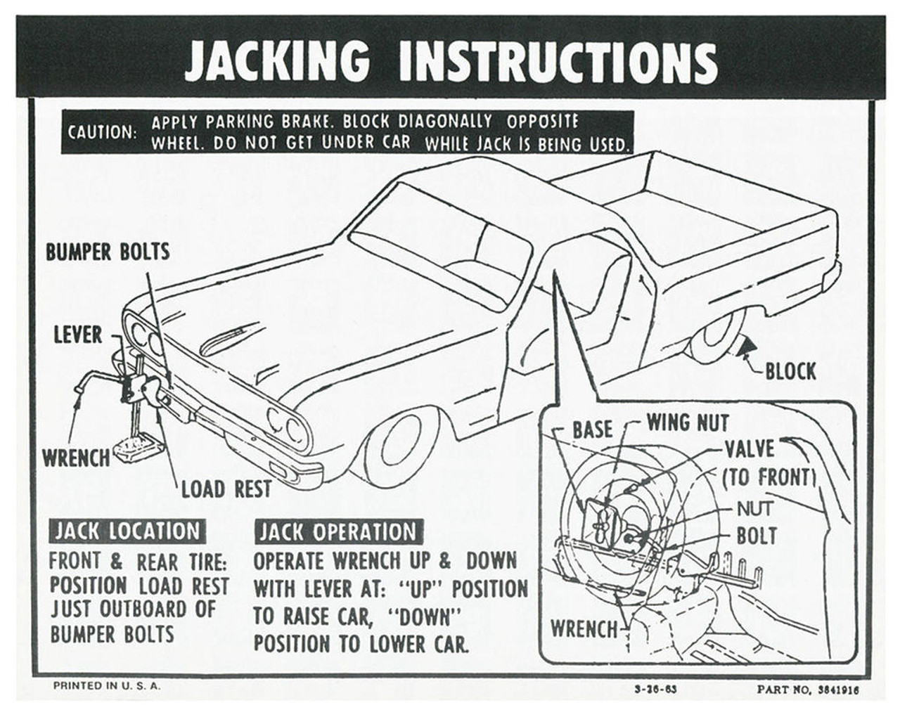 64 65 66 Chevy El Camino Spare Tire Jacking Instructions Decal 1964 Wiring Diagram 1965 1966