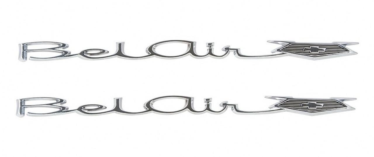 65 66 Chevy Bel Air Rear Quarter Panel Chrome Emblems Scripts Pair