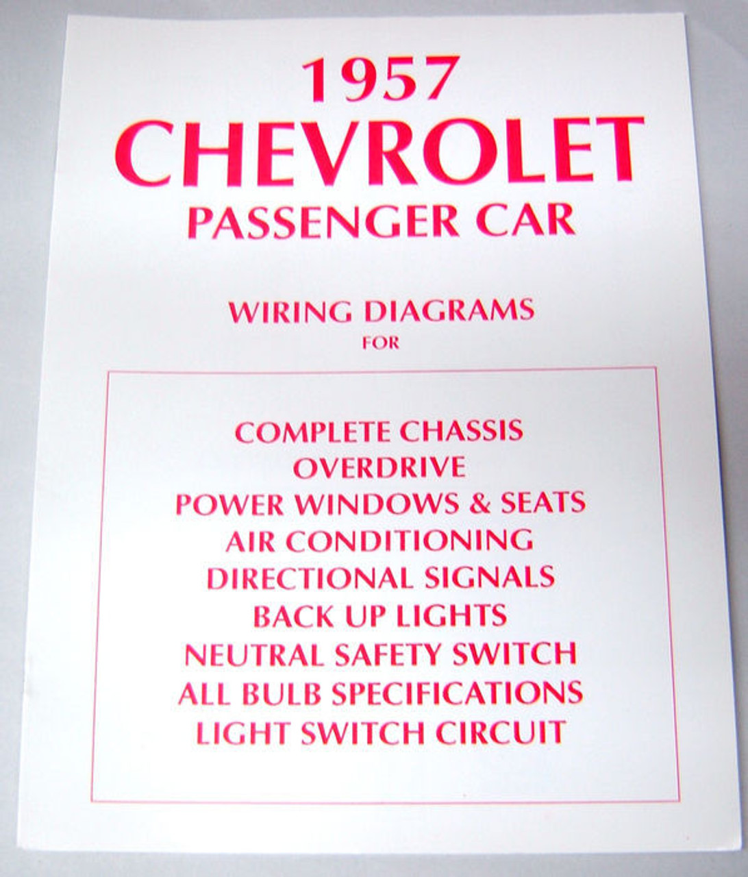 57 1957 CHEVY ELECTRICAL WIRING DIAGRAM MANUAL - I-5 ...