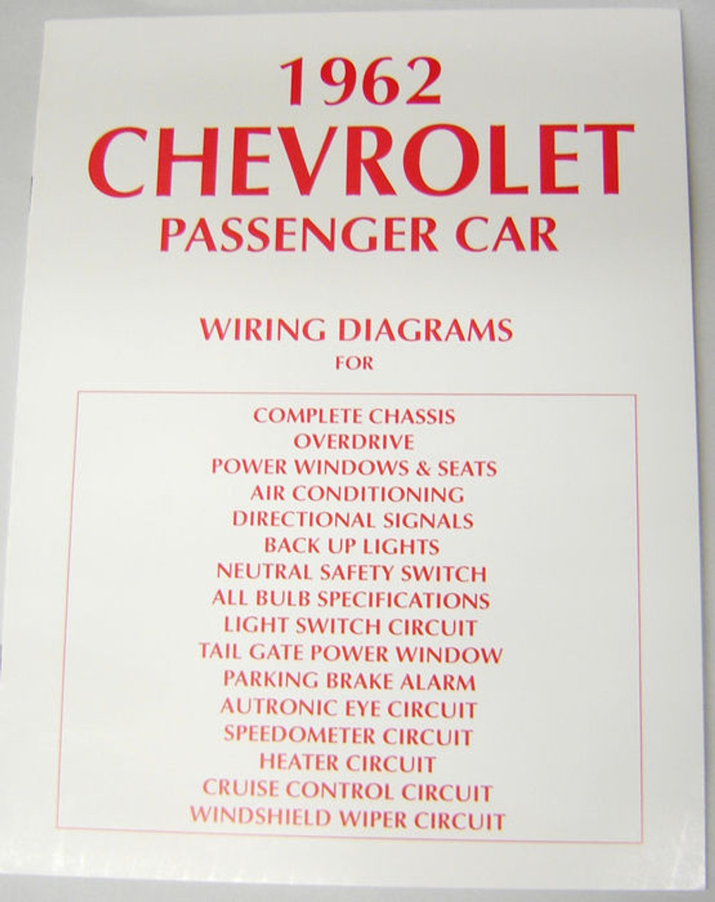 62 Chevy Impala Electrical Wiring Diagram Manual 1962 on