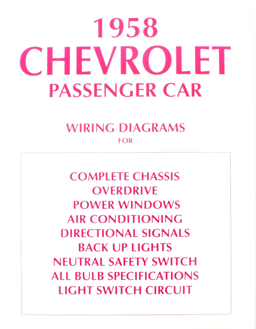 58 Chevy Impala Electrical Wiring Diagram Manual 1958 I 5 Classic 1965 Ac