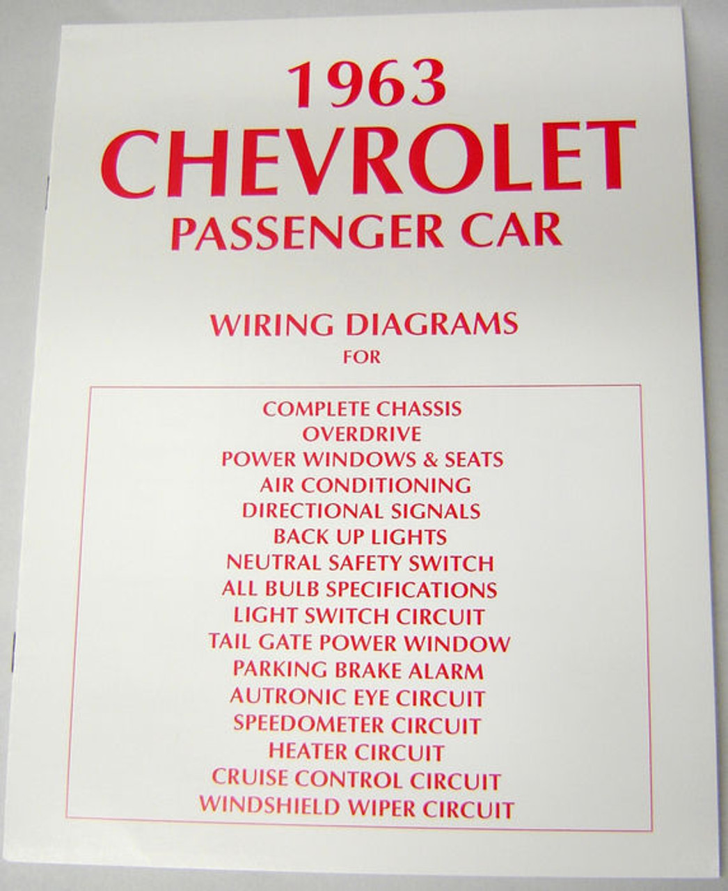 63 Chevy Impala Electrical Wiring Diagram Manual 1963 on