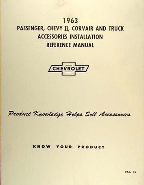 63 Chevy Impala Nova Corvair Truck Accessory Installation Manual New