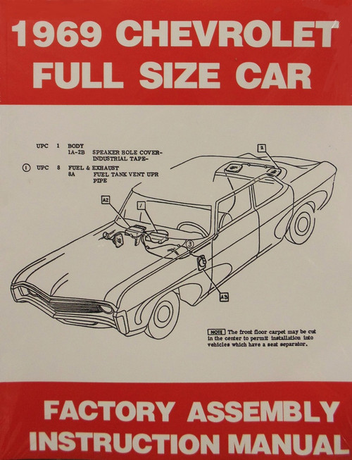 69 1969 Chevy Bel Air, Biscayne, Impala & Caprice Factory Assembly Manual Book