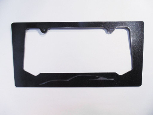 2014 Corvette C7 Coupe Cyber Gray Silhouette Rear License Plate Frame In Carbon Flash Metallic Black