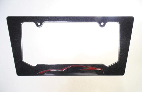 2016 2017 Corvette C7 Long Beach Red Metallic License Plate Frame Carbon Flash Metallic Black