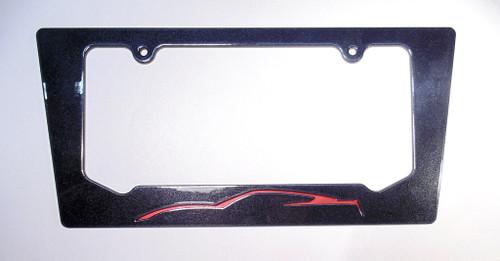 15-16 Corvette C7 Daytona Sunrise Orange Metallic License Plate Frame Carbon Flash Metallic Black