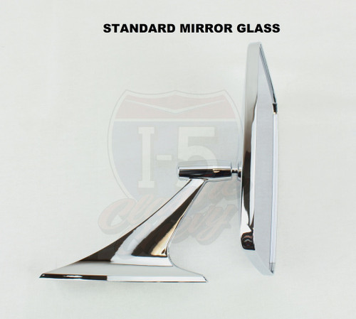 73-91 Chevy GMC Sport Truck Square Rectangle Chrome Outside Rearview Door Mirror