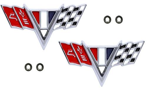 64 65 66 67 Chevy Impala Chevelle Nova Camaro Fender Trim Emblem Flags Pair