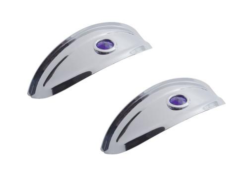 """7"""" Headlight Headlamp Light Bulb Chrome Visors Trim Ring Cover Pair Blue Dot"""