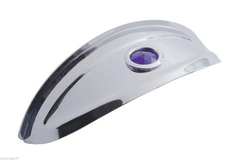 "7"" Motorcycle Headlight Headlamp Bulb Chrome Trim Cover Shield Visor W/ Blue Dot"