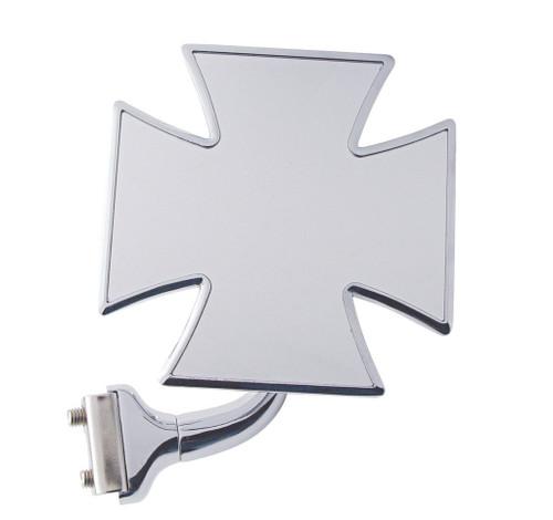 "4"" Maltese Iron Cross Single Curved Arm Peep Side Door Frame Mirror Outside Rear View"