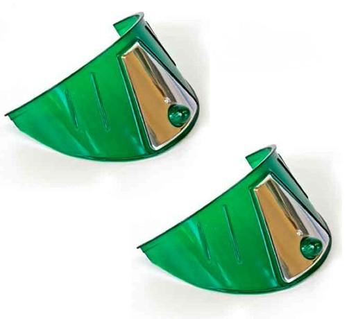"""7"""" Headlight Headlamp Light Bulb Ring Cover Green W/ Stainless Trim Visors Pair"""