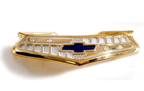 55 56 Chevy 6Cyl 6 Cylinder Bel Air Steering Wheel Horn Cap Gold Trim Emblem