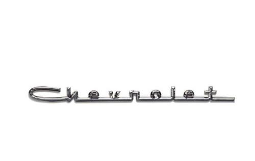 57 Chevy 210 & 150 V8 Chevrolet Hood Or Trunk Script Trim Emblem Chrome