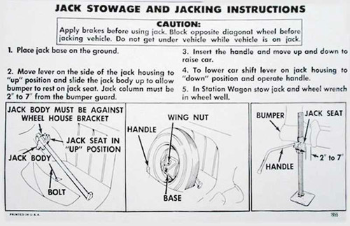 55 Chevy Car Trunk Spare Tire & Jacking Instructions 1955