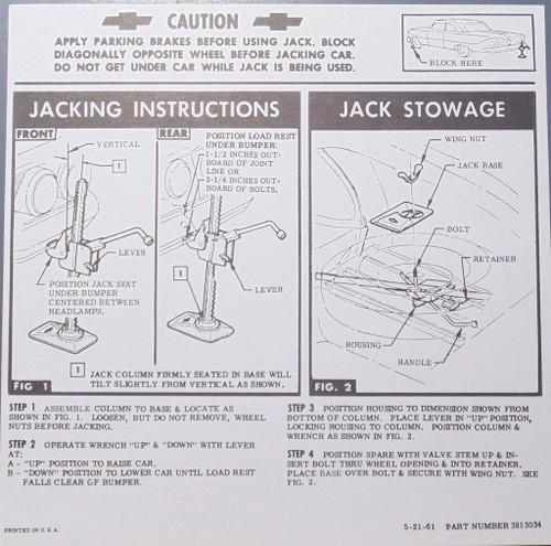 61 Chevy Impala Convertible Jacking Instructions 1961