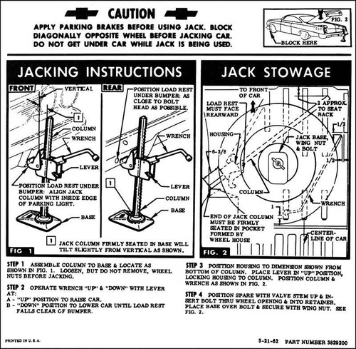 62 Chevy Impala Bel Air Biscayne Spare Tire & Jacking Instructions 1962