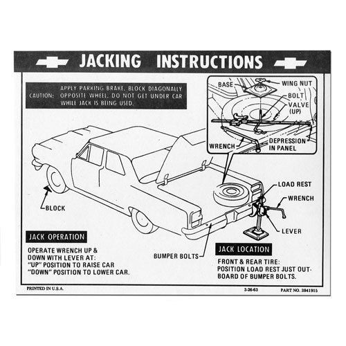 64 65 66 Chevy Chevelle Jacking Instructions Decal Sticker 1964 1965 1966