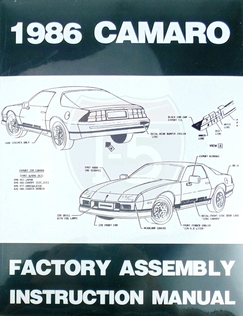 86 1986 Chevy Camaro Factory Assembly Instruction Manual Guide Book 87 88 89 90