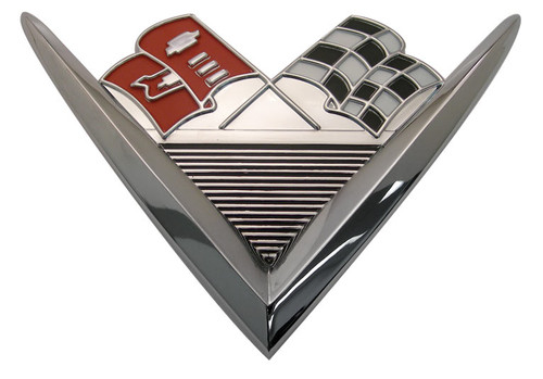 61 1961 Chevy Impala Bel Air Biscayne V8 348 Cross Flags Rear Trunk Vee Emblem