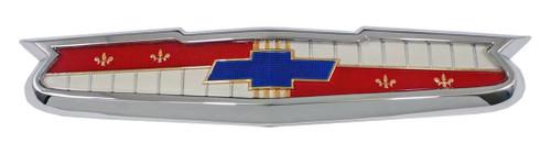 56 Chevy 6 CYLINDER Chrome Hood Emblem Bezel & Insert Assembly 1956 Chevrolet