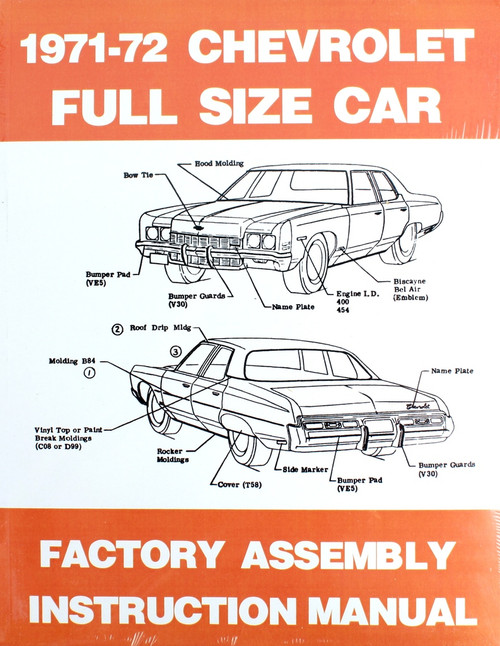 71 72 Chevy Bel Air Biscayne Impala Caprice Factory Assembly Manual Book