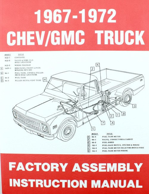67 68 69 70 71 72 Chevy & GMC TRUCK Factory Assembly Manual Book