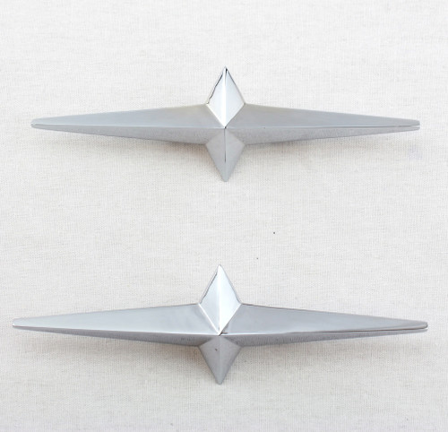 2- Lowrider Custom Cruiser Fender Skirt Chrome Star Ornament 54-58 Pontiac Pair