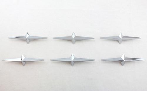 Set of 6 Lowrider Custom Cruiser Fender Skirt Chrome Star Ornament 54-58 Pontiac
