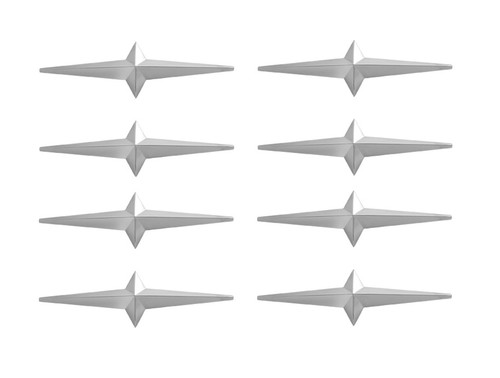 Set of 8 Lowrider Custom Cruiser Fender Skirt Chrome Star Ornament 54-58 Pontiac