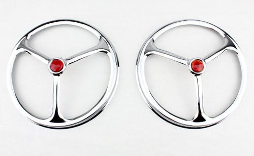 "7"" Headlight Headlamp Bulbs Chrome Trim Ring Covers Lucas Tri Bar Red Dot Pair"
