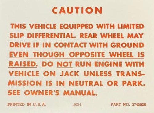 57-71 Chevy Cadillac Positraction Trunk Warning Decal Limited Slip Differential