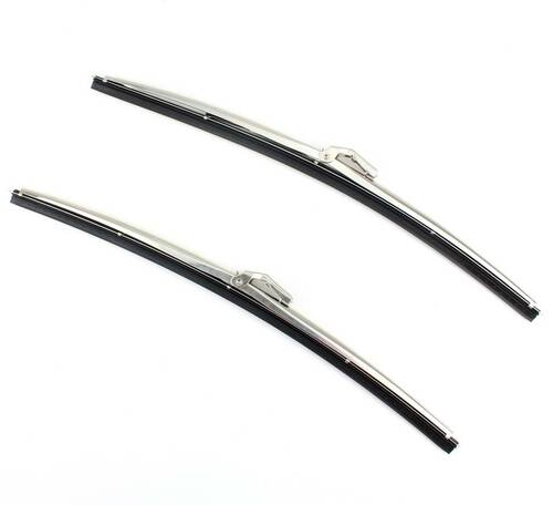"15"" Stainless Steel Front Windshield Wiper Blades Bayonet Style PAIR"