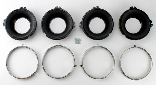 58 59 61 62 63 64 66 66 Chevy Impala Head Lamp Headlight Bucket & Stainless Retainer Ring Kit