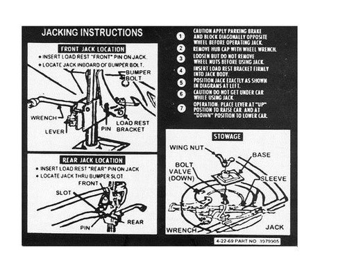 Early 1970 Chevelle Spare Tire & Jacking Instructions Decal 70