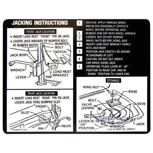 71 Chevy Chevelle Spare Tire & Jacking Instructions Decal Sticker 1971