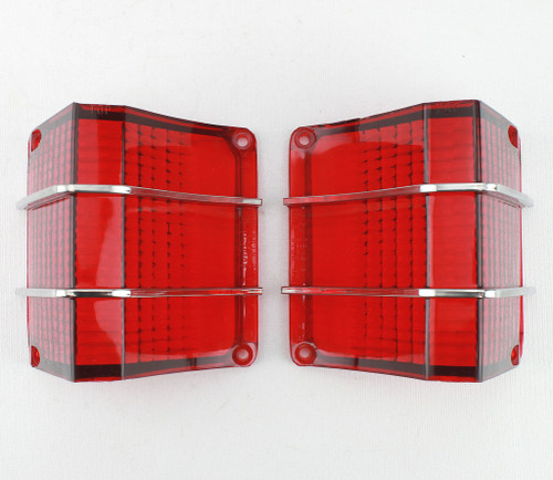 67 1967 Chevy El Camino Red Tail Light Lenses with Stainless Trim New Pair