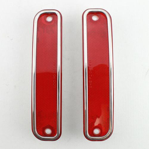 73-80 Chevy Truck RED Rear Bed Fender Marker Light Lenses & Trim Pair